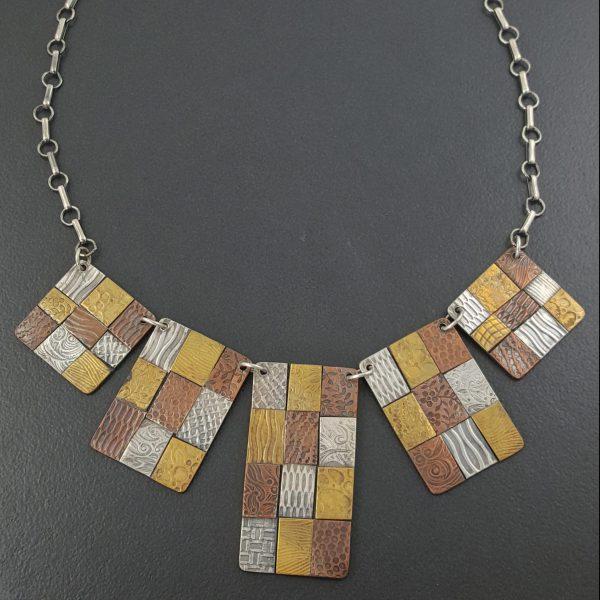mixed metal bib necklace Michele Grady