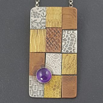 amethyst patchwork mixed metal necklace Michele Grady