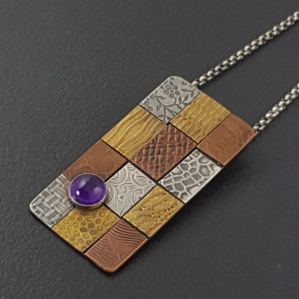 amethyst patchwork mixed metal necklace