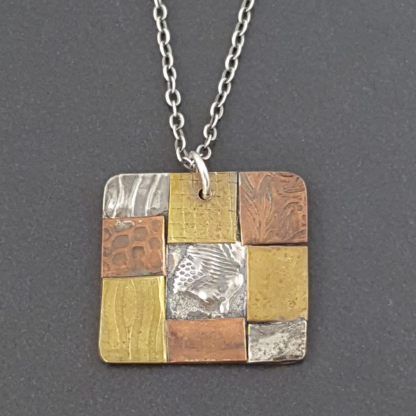 square mixed metal patchwork necklace Michele Grady
