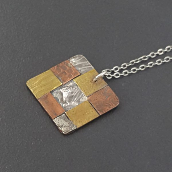 square mixed metal patchwork necklace