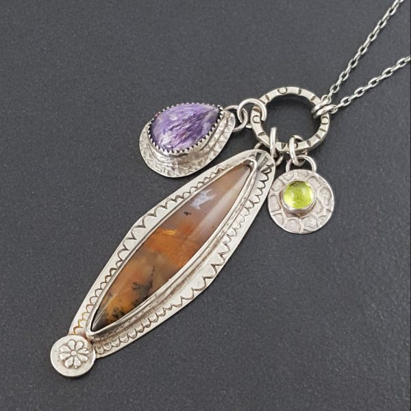 amethyst sage charm necklace