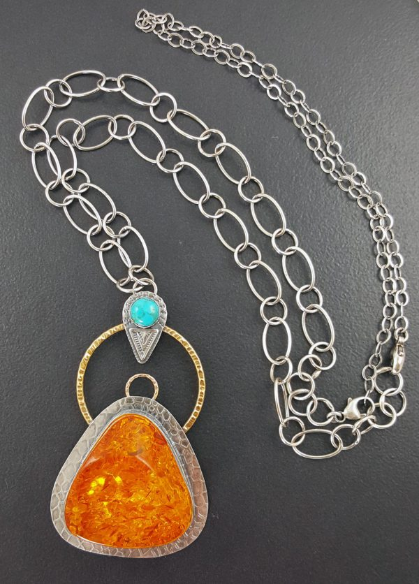 Amber Turquoise Mixed Metal Necklace Michele Grady