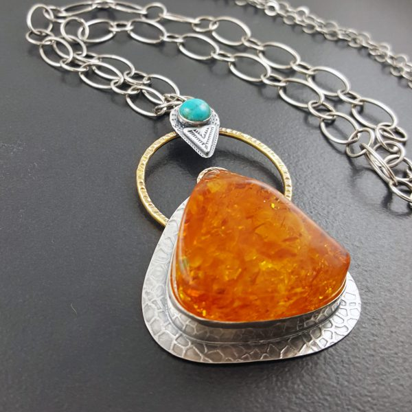 Amber Turquoise Mixed Metal Necklace