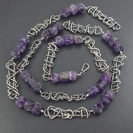 Raw Amethyst Bead Necklace Michele Grady