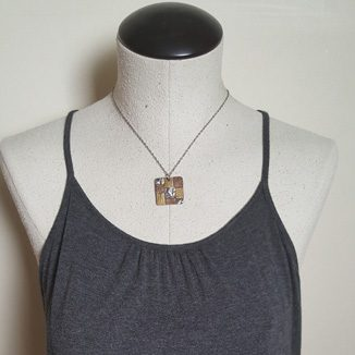 square mixed metal patchwork necklace 4