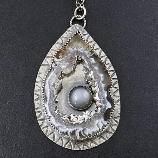 Occa Agate Silver Moonstone Pendant Michele Grady