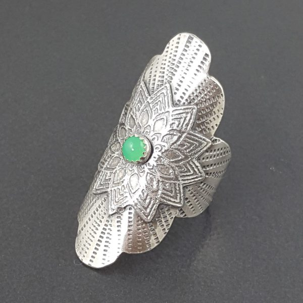 Chrysoprase Mandala Saddle Ring