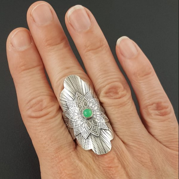 Chrysoprase Mandala Saddle Ring Michele Grady