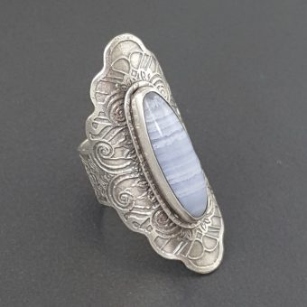 Blue Lace Agate Saddle Ring