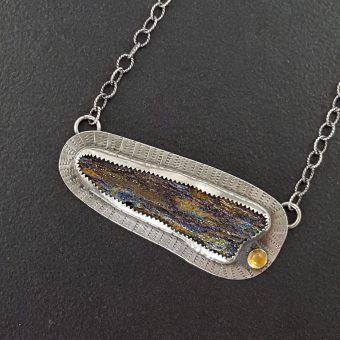 Rainbow Hematite Druzy Necklace