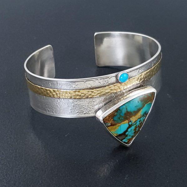 turquoise in bronze cuff