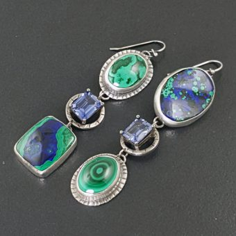 Azurite Malachite Sapphire Earrings