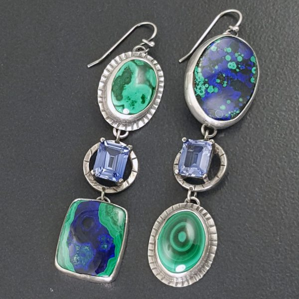Azurite Malachite Sapphire Earrings Michele Grady