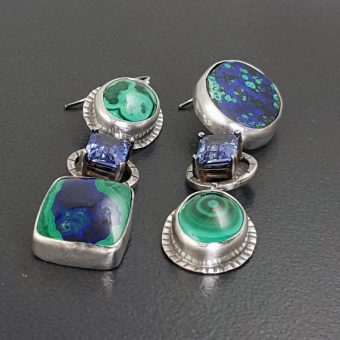 Azurite Malachite Sapphire Earrings