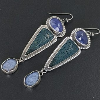 Tanzanite Leland Blue Geode Earrings
