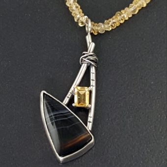 striped onyx citrine necklace Michele Grady