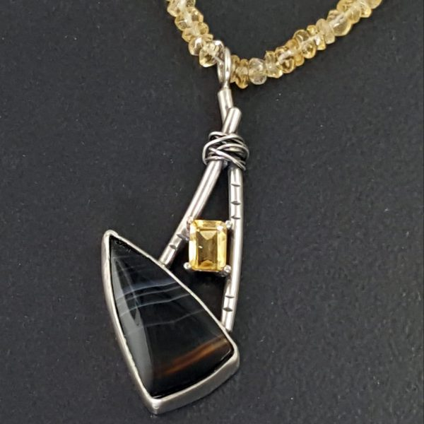 striped onyx citrine necklace Michele Grady