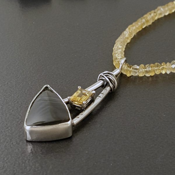 striped onyx citrine necklace