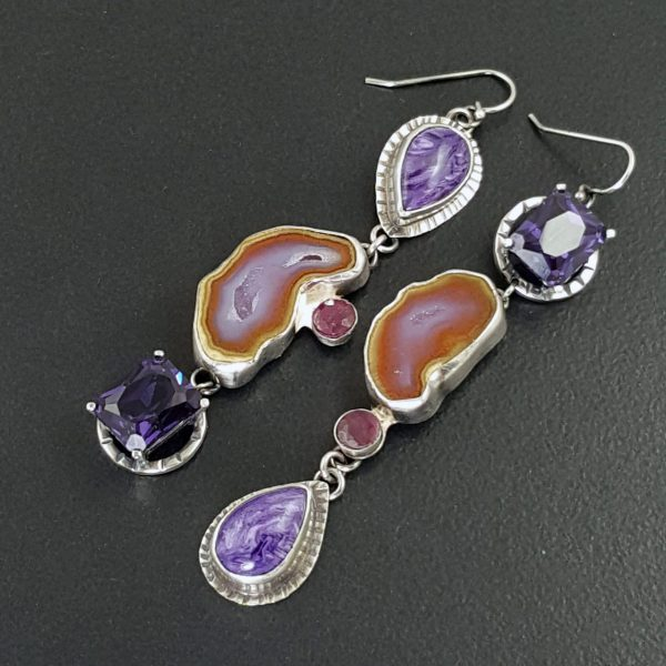 Charoite Alexadrite Ruby Geode Earrings Michele Grady