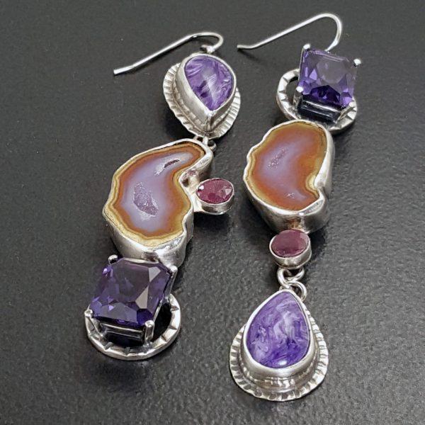 Charoite Alexadrite Ruby Geode Earrings