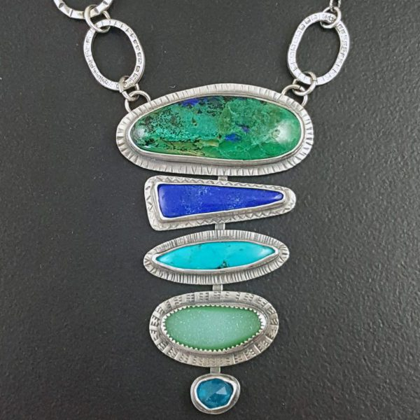 azurite malachite stacked stone necklace