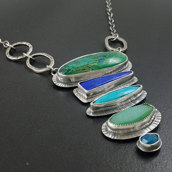 azurite malachite stacked stone necklace