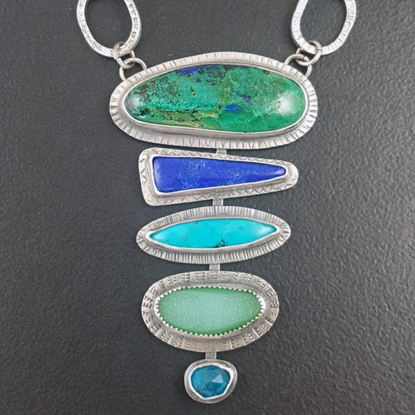 azurite malachite stacked stone necklace Michele Grady