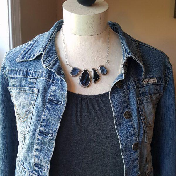 Pietersite black onyx necklace