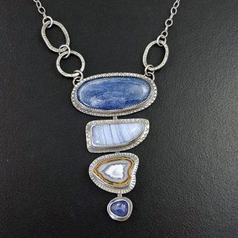 kyanite blue lace stacked stone necklace Michele Grady