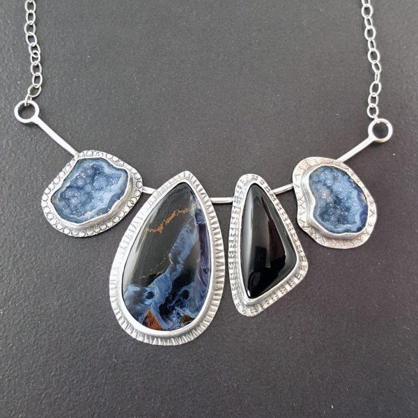 Pietersite black onyx necklace Michele Grady
