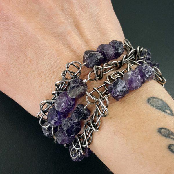 Raw Amethyst Bead Necklace