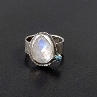 rainbow moonstone blue topaz ring Michele Grady