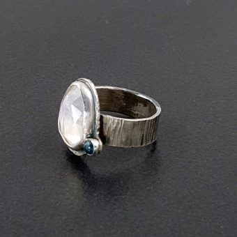 rainbow moonstone blue topaz ring