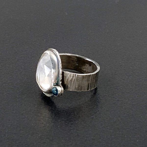 rainbow moonstone blue topaz ring