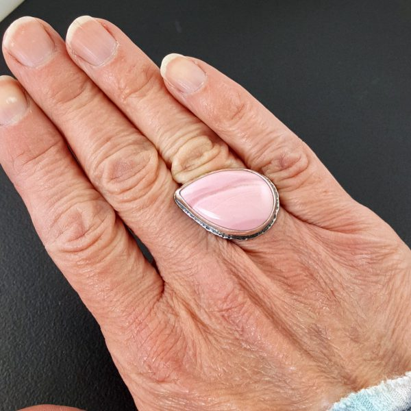 pink opal ring square band