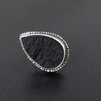 Natural surface black jade ring Michele Grady