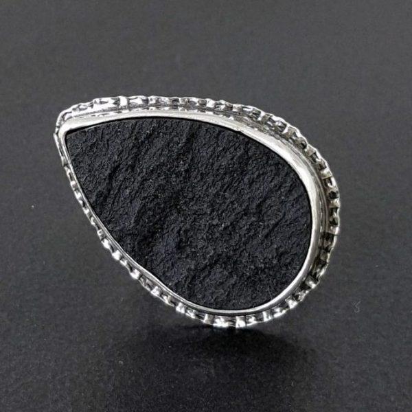 Natural surface black jade ring Michele Grady