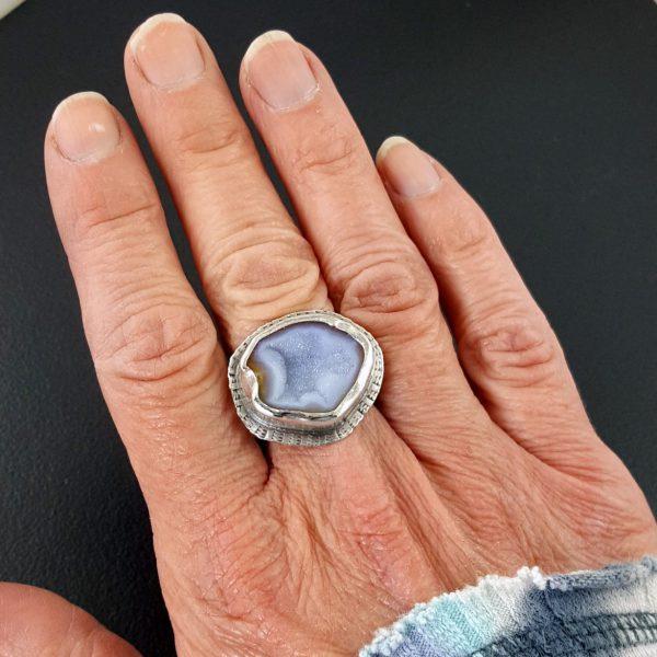 druzy geode half ring
