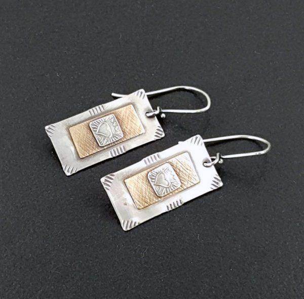 heart dog tag earrings