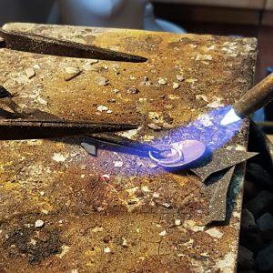 how to make mixed metal mini shield earrings Michele Grady