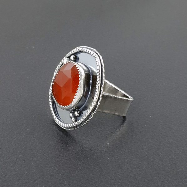 rose cut red onyx ring