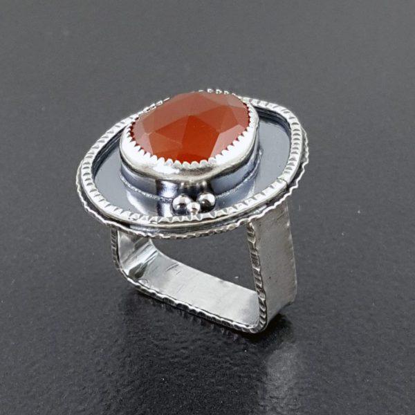 rose cut red onyx ring