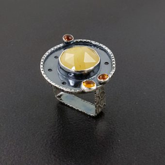 Yellow aventurine and amber ring Michele Grady