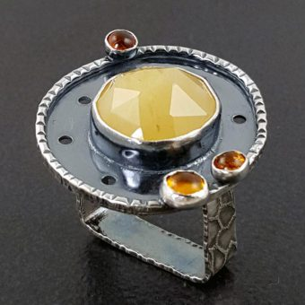 Yellow aventurine and amber ring Michele Grady