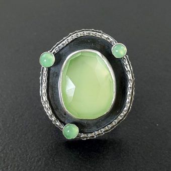 rose cut green chalcedony multi stone ring