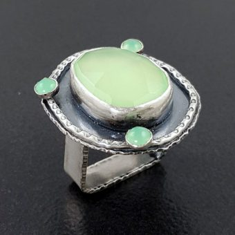 rose cut green chalcedony multi stone ring Michele Grady