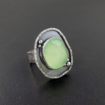 rose cut green chalcedony ring Michele Grady