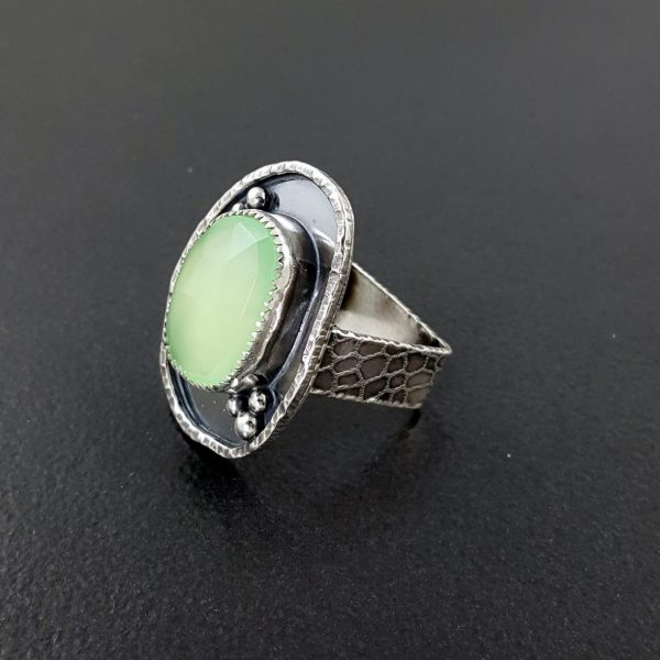 rose cut green chalcedony ring