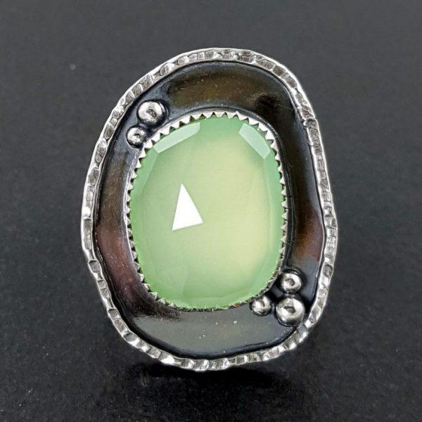 rose cut green chalcedony ring